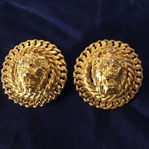 Vintage 80's Lion Head Gold Costume Jewelry